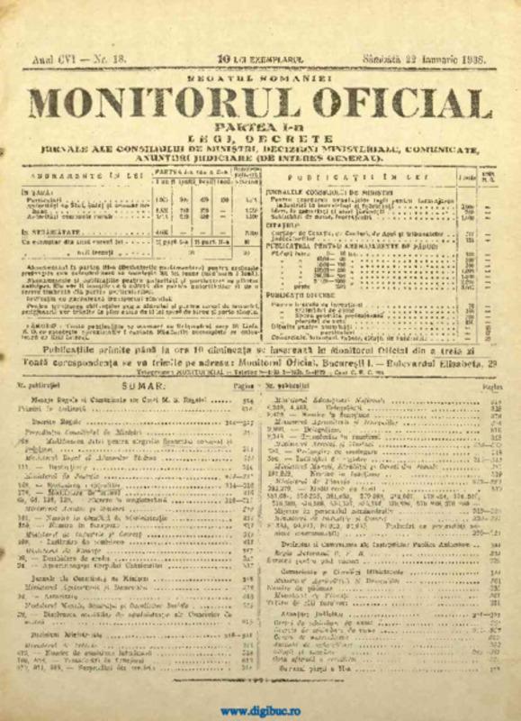 Legea revizuirii cetățeniei, Monitorul Oficial, 22 Ianuarie 1938