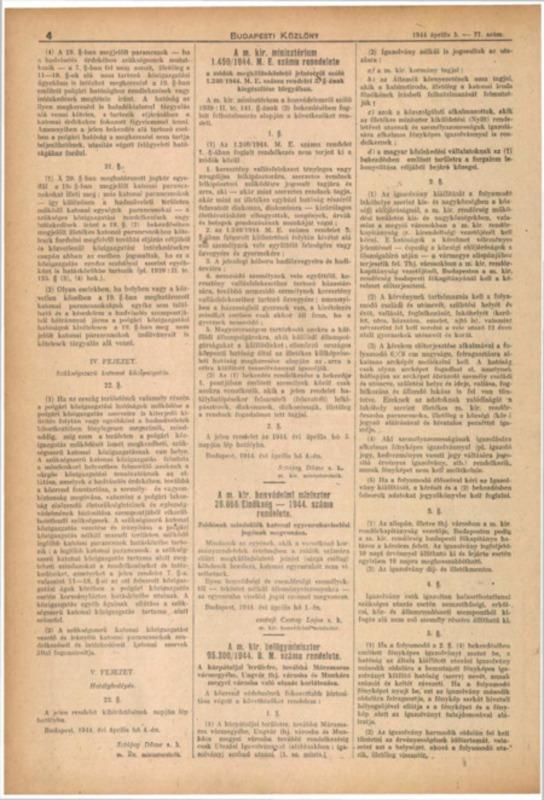 Decretul-lege nr. 1450/1944 M.E. al Consiliului de Miniştri Regal Ungar,  în completarea decretului-lege nr. 1240/1944