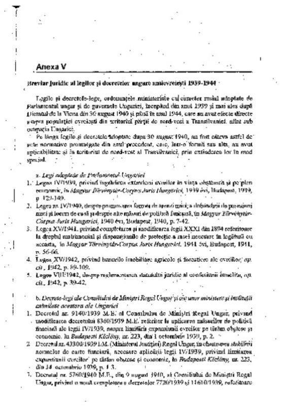 Breviar juridic al legilor și decretelor ungare antievreiești, 1939-1944