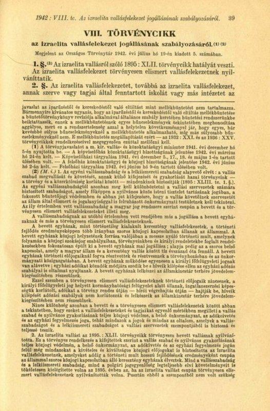 Legea VIII, 19 Iulie 1942