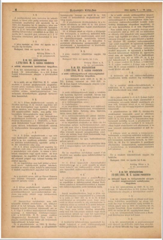 Decretul-lege nr. 1270/1944 M.E. al Consiliului de Miniştri Regal Ungar