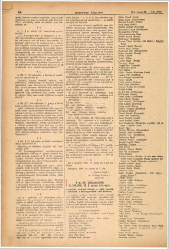 Dispoziţia guvernamentală nr. 11.300/1944 M.E. a Consiliului de Miniştri Regal Ungar