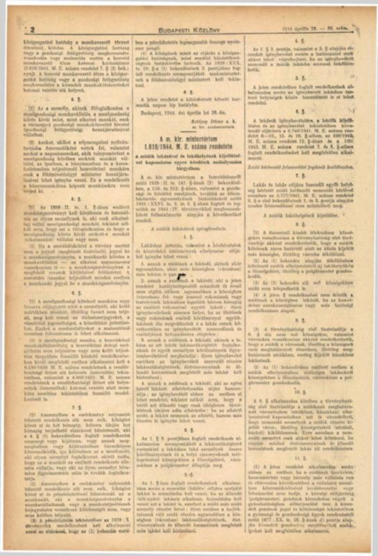 Decretul-lege nr. 1610/1944 M.E. al Consiliului de Miniştri Regal Ungar