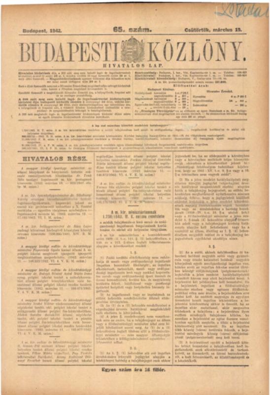 Decretul-lege nr. 1750/1942 M.E. al Consiliului de Miniştri Regal Ungar