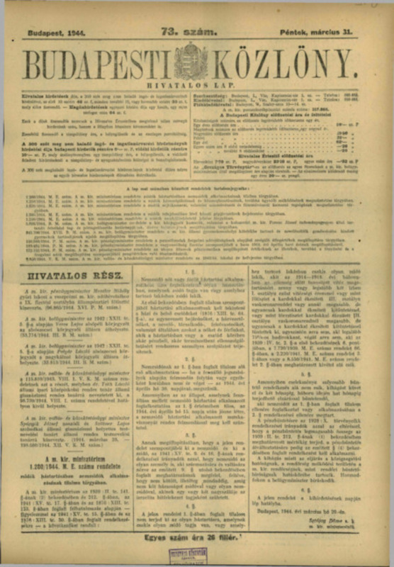 Budapesti Közlöny (Monitorul Oficial al Ungariei), 31 Martie 1944