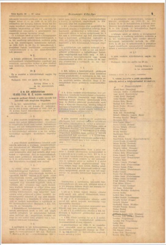 Decretul-lege nr. 10.800/1944 M.E. al Consiliului de Miniştri Regal Ungar