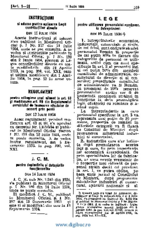 Legea pentru folosirea personalului românesc în întreprinderi, Codul General al României, 16 Iulie 1934