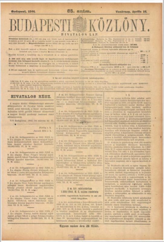 Decretul-lege nr. 1600/1944 M.E. al Consiliului de Miniştri Regal Ungar